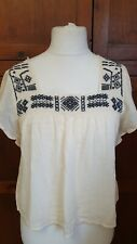 Hollister Ethnic Boho Embroidery Cream Smock Top Size S 8 10
