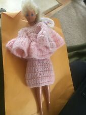 Barbie doll handmade knit pink skirt and poncho