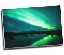 "Aurelia Borealis Northern Lights Above Lagoon Canvas Print Wall Art 30x20"" A1"