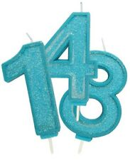 Blue Sparkling Birthday Candles Glitter Age Number Cake Decorations