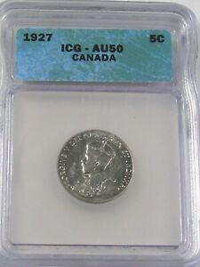 AU 1927 5¢ Cent Nickel CANADA ICG AU50.  #58