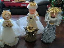 Vintage lot of 4 CHRISTMAS ANGEL ORNAMENTS tree toppers JAPAN