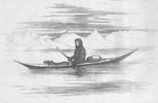 ARCTIC. Greenlander of Sukkertop, his kayak, antique print, 1875