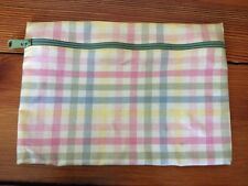 Vintage Nordic House Designs Pink Plaid Womens Zippered Cosmetic Bag Usa Made