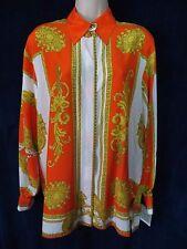 Carnaval De Venise Paris Orange White Gold Silky Tiger Damask Luxury Shirt Top L