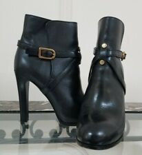 TORY BURCH Black High Heel Strap Detail Ankle Women's Boots Shoes 6M