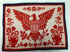 Woven Quilt Wall Hanging, Red & White, Cotton, Eagle, Flowers, Cotton