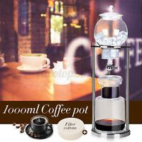 1000ml 10cups Cold Water Drip Coffee Pot Maker Dutch Serve Brew w/ Filter cotton