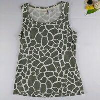 Chicos Womens Size 1 Animal Print Scoop Neck Sleeveless Tank Top Green White