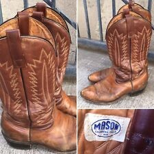 Vintage Mason Chippewa Falls Wis Cowboy Boots 8 1/2 2E Brown Leather