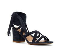 Lucky Brand Women's LK Idalina Moroccan Blue Wraparound Ankle Block Heel Sandal