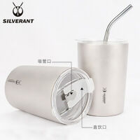 EDC Titanium Double Wall Coffee Cups Tea Mugs Water Tumbler Stemless Beer Drink
