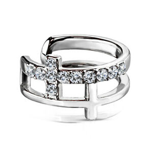 FAKE CLIP ON EAR CUFF CARTILAGE RING STEEL DOUBLE CROSS PAVED CZ GEM EARRING
