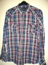 NEW * NEXT * BLUE PINK WHITE SLIMMER FIT COTTON CHECK SHIRT SIZE LG RRP £25