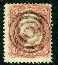 USA 1861 Washington 3¢  Rose  Scott # 65 VFU I282 ⭐⭐⭐⭐⭐⭐