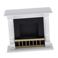 MagiDeal 1/12 Dollhouse Miniature Wood Fireplace Model Furniture Accs White