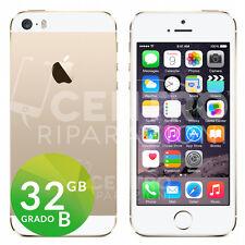 APPLE IPHONE 5S 32GB BIANCO ORO ORIGINALE GOLD GRADO B CON ACCESSORI E GARANZIA