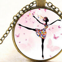 New Ballerina and Pink Butterflies, Glass Pendant Necklace, Ballet Dancer Gift