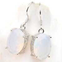 Woman Classical Oval Cut Rainbow Moonstone Gemstone Silver Dangle Hook Earrings