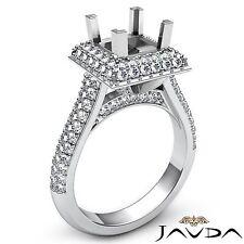 Semi Mount 1.4Ct 2 Row Halo Pave Diamond Engagement Princess Ring 18k White Gold