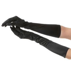 Black Long Gloves Fancy Dress Flapper Costume Accessory Sexy Halloween Ladies