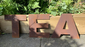 10 Inch Rust Letters TEA Rustic Sign