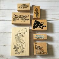 7 Misc Beach Theme Rubber Wooden Stamps Various brands/sizes Crafts  (CL)