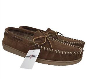 Minnetonka Mens Tory Traditional Leather Upper Slip on Slippers Brown Choose sz