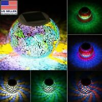 Solar Powered Mosaic Glass Ball LED Garden Light Color Changing Table Lamp USA