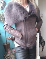 Muubaa Havana Real Fur Leather Suede Shearling Coat/Jacket sz 10/6/38