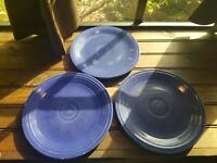 "3 VINTAGE HOMER LAUGHLIN FIESTA WARE 9.5"" Dinner Plates / Blue"