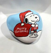 Hand Painted Rock Art Snoopy Merry Christmas Santa Peanuts Collectible