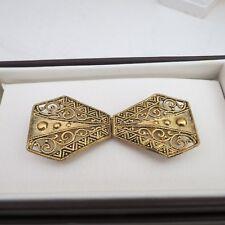 Gold gilt metal vintage belt buckle art deco