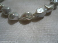 GENUINE GREY BAROQUE PEARL BRACELET WITH MODERNIST MAGNETIC SILVER BALL CLASP