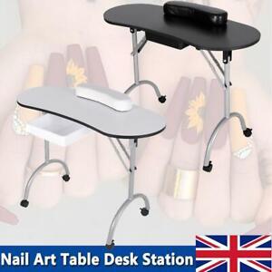 Foldable Portable Mobile Manicure Nail Table Beauty Salon Technician Work Desk