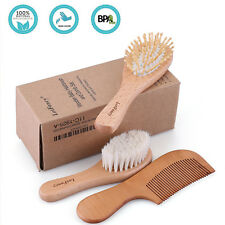 3Pcs Wooden Baby Bristles Goat Hair Brush Comb Set Gifts for Newborns Toddlers