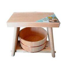 Wooden Bath Stool + Wash Bowl Set Cypress Hinoki Hot Spring Items Japan Tracking