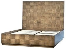 "87"" Gabriella Queen Bed Modern Contemporary Square Parquet Red Oak Veneer"