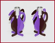 Round Candle Holder Metal Iron Holders Votive Candlesticks Set of 2 Purple Brown