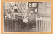 Real Photo Postcard RPPC - Man at Desk Typewriter Telephone Aurora Bank Calendar