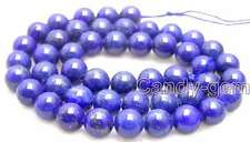 "SALE Big 10mm Round Blue natural lapis lazuli loose beads strand 15""-lo630"