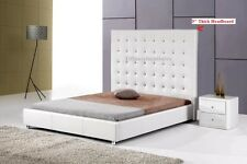 #4006 Gorgeous Modern Queen Size White PU Leather bed