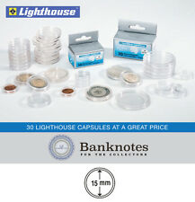 30 Coin Capsules Lighthouse Direct Fit 15MM Holders High Quality Guilder Cent US