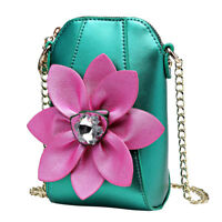Women's Mini 3D Flower Party Purse Crossbody Shoulder Bag Rhinestone Phone Pouch
