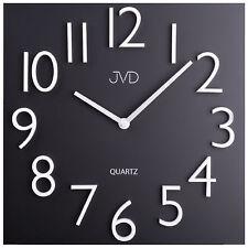 JVD HB16 Wanduhr Quarz analog Metall schwarz viereckig modern Magnetzahlen