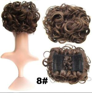 Brown Curly Messy Bun Combs Chignon Scrunchie Updo Cover Hair Extension as human