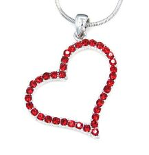 """Pendant Charm 17"""" Necklace Love Valentine New Heart Red Crystal Silver Tone"""