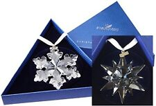 2016 & 2017 Swarovski ~set of 2 Snowflake STAR Annual Christmas ORNAMENTs ~ NEW