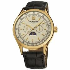 Akribos XXIV AK638YG Swiss Quartz Moon Phase Day/Date Leather Strap Mens Watch