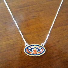 NEW AUBURN UNIVERSITY TIGERS CRYSTAL PENDANT NECKLACE AU Tiger Eyes logo jewelry